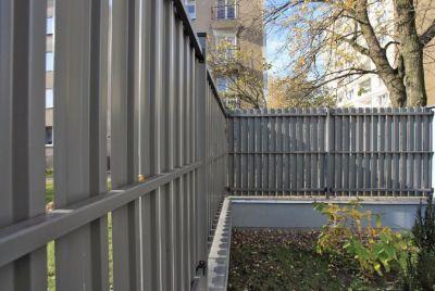 Серый модульный забор